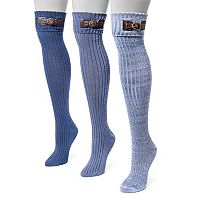 Women's MUK LUKS 3 pkBuckle Cuff Over-the-Knee Socks