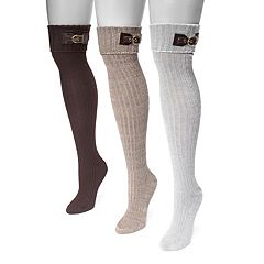 Women's MUK LUKS 3-pk. Buckle Cuff Over-the-Knee Socks