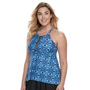 Plus Size Croft & Barrow® Mosaic High-Neck Tankini Top