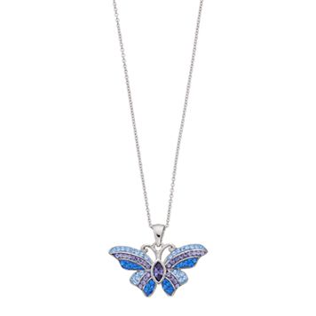 Brilliance Silver Plated Butterfly Pendant with Swarovski Crystals