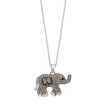 Brilliance Silver Plated Elephant Pendant with Swarovski Crystals