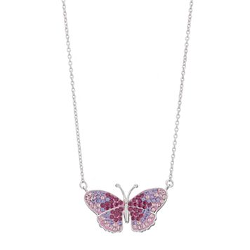 Brilliance Silver Plated Butterfly Necklace with Swarovski Crystals