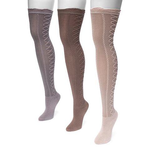 Women's MUK LUKS 3-pk. Lace-Texture Over-the-Knee Socks