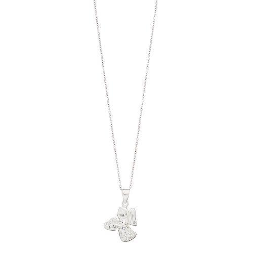 Charming Girl Kids' Sterling Silver Crystal Angel Pendant