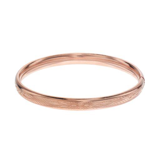 Charming Girl 14k Gold Over Silver Floral Bangle Bracelet