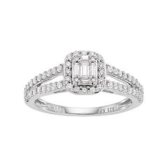 Simply Vera Vera Wang 14k White Gold 1/2 Carat T.W. Diamond Cluster Halo Engagement Ring