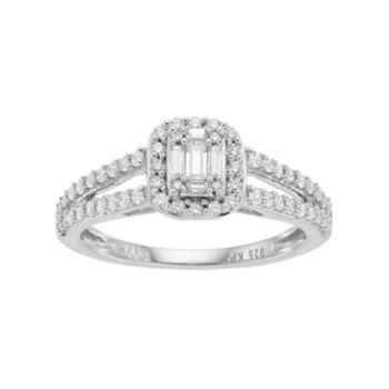 Simply Vera Vera Wang 14k White Gold 1/2 Carat T.W. Diamond Cluster Halo Engagement Ring