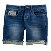 Girls 7-16 & Plus Size Mudd® Embroidered Cuff Bermuda Jean Shorts
