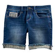 Girls 7-16 & Plus Size Mudd® Embroidered Cuff Bermuda Jean Shorts