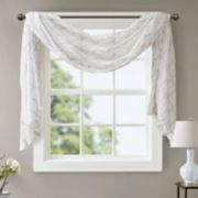 Madison Park Iris Diamond Sheer Embroidered Scarf Window Valance