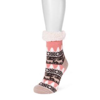Women's MUK LUKS Fluffy Gripper Socks