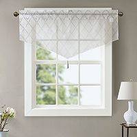Madison Park Iris Diamond Sheer Embroidered Ascot Window Valance