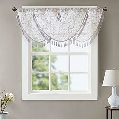 Madison Park Iris Diamond Sheer Embroidered Waterfall Window Valance