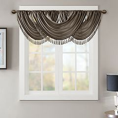 Madison Park Juline Faux Silk Waterfall Embellished Window Valance