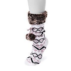 Women's MUK LUKS Pom-Pom Gripper Socks