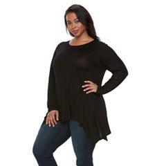 Plus Size Apt. 9® Lace Sleeve Handkerchief Hem Tunic