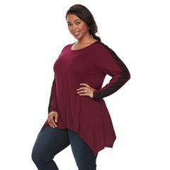 Plus Size Apt. 9® Lace Sleeve Handkerchief Hem Tunic