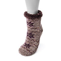 Women's MUK LUKS Fairisle Gripper Crew Socks