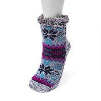 Women's MUK LUKS Fairisle Gripper Crew Socks
