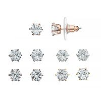 Cubic Zirconia Nickel Free Solitaire Stud Earring Set