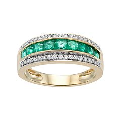 10k Gold Emerald & 1/5 Carat T.W. Diamond Striped Ring