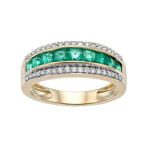 10k Gold Emerald & 1/5 Carat T.W. Diamond Striped Ring