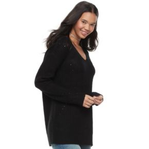 Juniors' It's Our Time Lace-Up Tunic Sweater