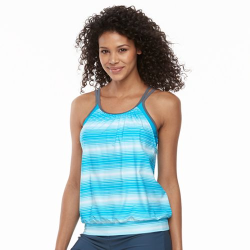 Women's Free Country Stripe Blouson Tankini Top