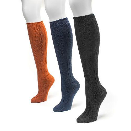 Women's MUK LUKS 3-pk. Cable-Texture Knee-High Socks