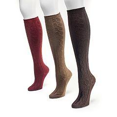 Women's MUK LUKS 3 pkCable-Texture Knee-High Socks