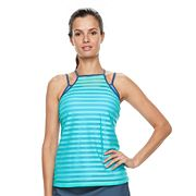 Women's Free Country Bust Enhancer Mock-Layer Tankini Top
