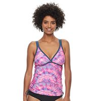 Women's Free Country Printed Double Strap Tankini Top
