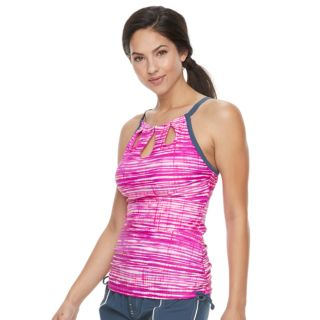Women's Free Country Bust Enhancer Striped Keyhole Tankini Top
