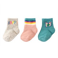 Baby / Toddler Girl Carter's 3 pk'Happy' Butterfly Crew Socks
