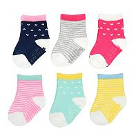 Baby / Toddler Girl Carter's 6-pk. Stripes & Hearts Crew Socks