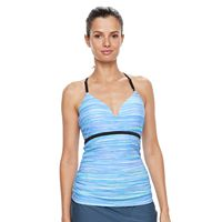 Women's Free Country Bust Enhancer Underwire Space-Dye Tankini Top