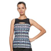 Women's Free Country Bust Enhancer Peek-a-Book Tankini Top