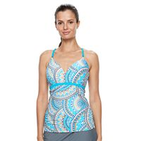Women's Free Country Bust Enhancer Underwire Mosaic Tankini Top
