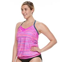 Plus Size Free Country Bust Enhancer 2-in-1 Tankini Top