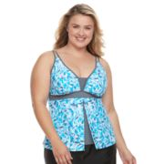 Plus Size Free Country Printed Flyaway Tankini Top