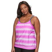 Plus Size Free Country Stripe Blouson Tankini Top