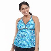 Plus Size Free Country Printed Double Strap Tankini Top