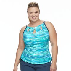 Plus Size Free Country Bust Enhancer Striped Keyhole Tankini Top