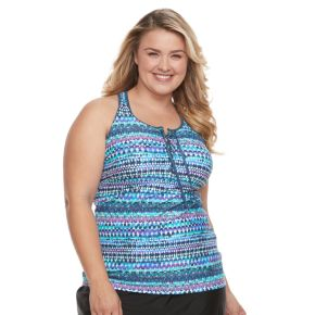 Plus Size Free Country Strappy Lace-Up Tankini Top