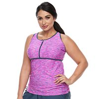 Plus Size Free Country Bust Enhancer Racerback Tankini Top