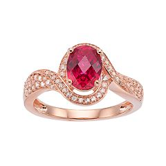 14k Rose Gold Over Silver Lab-Created Ruby & White Sapphire Halo Ring