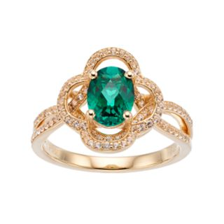 14k Gold Over Silver Lab-Created Emerald & White Sapphire Flower Ring