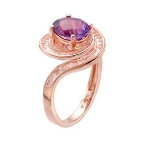 14k Rose Gold Over Silver Amethyst & Lab-Created White Sapphire Swirl Ring