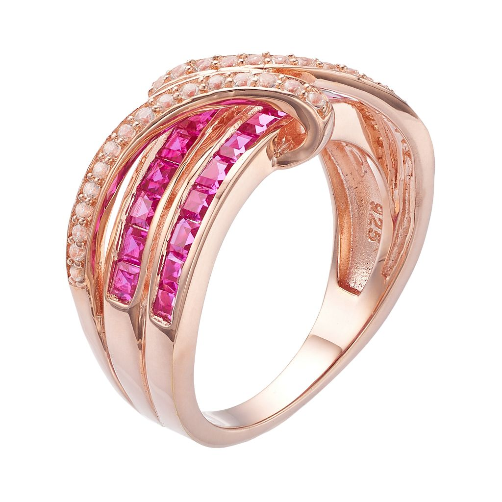 14k Rose Gold Over Silver Lab-Created Ruby & White Sapphire Bypass Ring