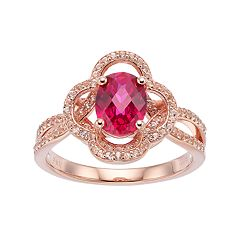 14k Rose Gold Over Silver Lab-Created Ruby & White Sapphire Flower Ring